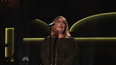 Adele making a funny face on SNL